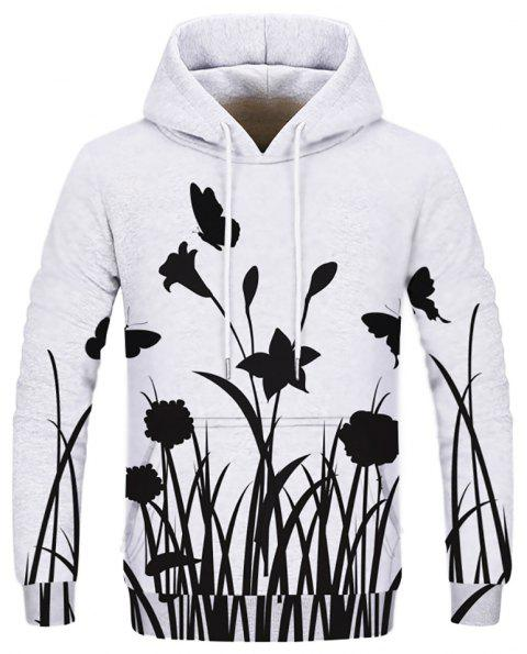 Fashion Printed Flower Men's Hoodie - multicolor 2XL