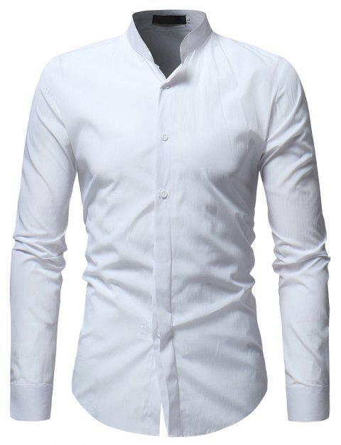 Solid Color Stand Collar Men's Casual Shirt - WHITE XL