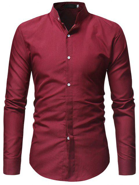 Solid Color Stand Collar Men's Casual Shirt - RED WINE 3XL