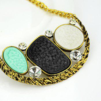Metal Chain Colorful Large Turquoise Gemstone Geometry Pendant Necklace - multicolor A