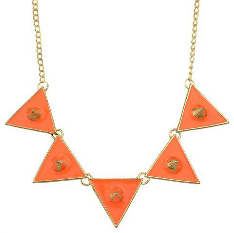 Metal Long Chain with Enamel Triangle Geometry Necklace - multicolor C