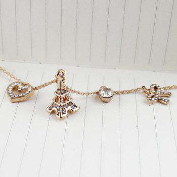 Metal Chain with Bowknot Heart Rhinestone Necklace - multicolor