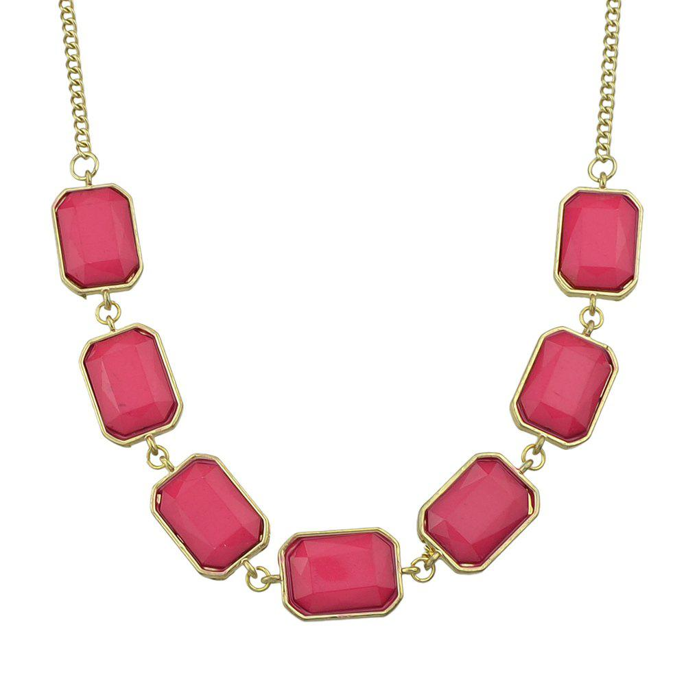 Minimalist Fashion Gemstone Geometry Pendant Necklace for Women - multicolor