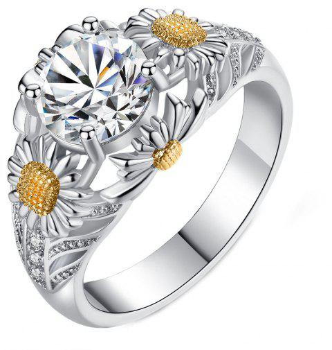 Fashion Openwork Flower Sunflower Zircon Ring - MILK WHITE US SIZE 10