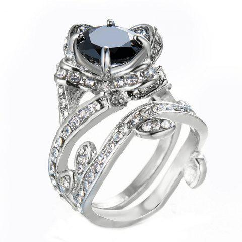 Creative Rose and Diamond Crystal Engagement Ring - BLACK US SIZE 8