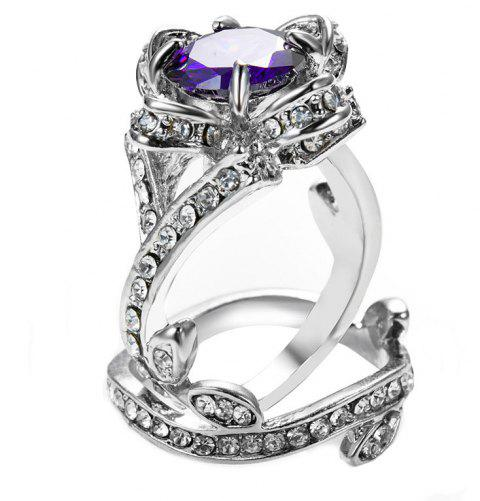Creative Rose and Diamond Crystal Engagement Ring - VIOLET US SIZE 8