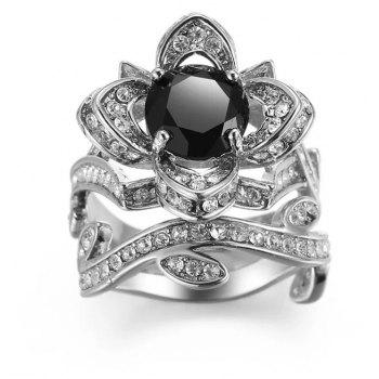 Creative Rose and Diamond Crystal Engagement Ring - BLACK US SIZE 9