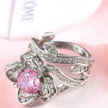 Creative Rose and Diamond Crystal Engagement Ring - PINK US SIZE 9