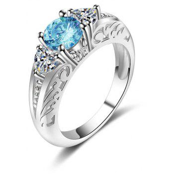 Fashion Creative Sapphire Carved Crystal Engagement Ring - SILVER US SIZE 7