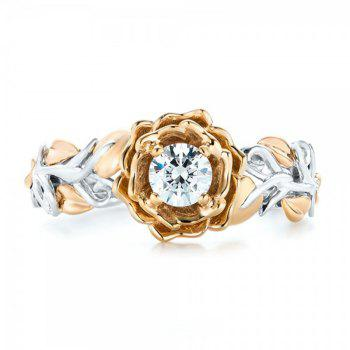 Fashion Carved Flower Two-tone Diamond Ring - CHAMPAGNE US SIZE 10