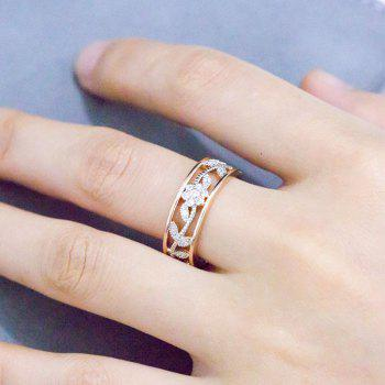 Creative Openwork Flower Leaf Zircon Engagement Ring - CHAMPAGNE GOLD US SIZE 10