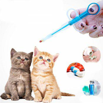 Pet Dog Cat Puppy Kitten Medicine Feeder Tool With Soft Tip Capsule Tablet Pill - BLUE