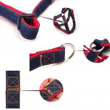 Adjustable Denim Pet Dog Cat Leash Harness and Cowboy Strap Rope Chain - RED