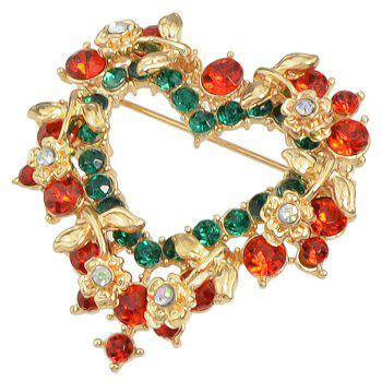 Christmas Colorful Rhinestone Heart-shaped Brooch - multicolor