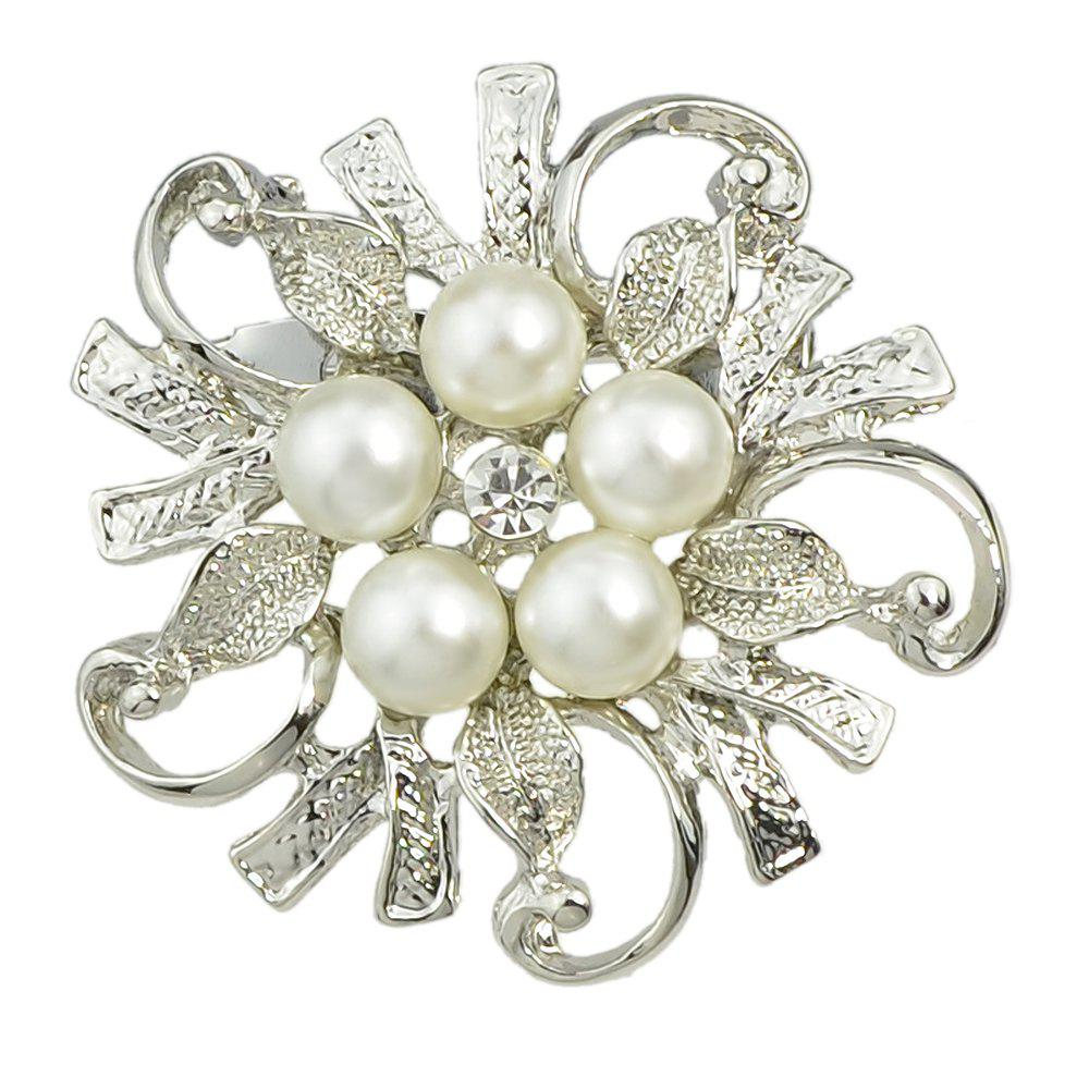Hollow-out Flower Bead Brooch for Elegant Woman - SILVER