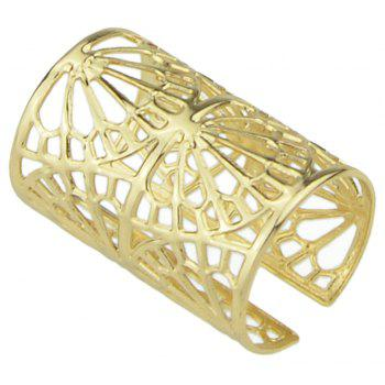 Fashion Metal Hollow-out Geometry Open Cuff Ring - GOLD RESIZABLE