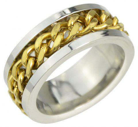 Fashion Metal Width Finger Ring with Rotatable Chain - GOLD US SIZE 7