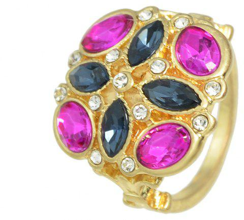 Geometric Colorful Crystal Flower Engagement Finger Ring - multicolor ONE-SIZE