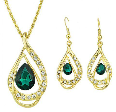 Fashion Rhinestone Water Drop Pendant Necklace Earrings - multicolor B