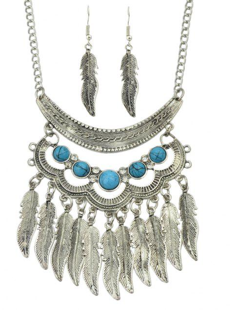 Fashion Turquoise Leaf Tassels Pendant Necklace and Leaf Earrings - SILVER