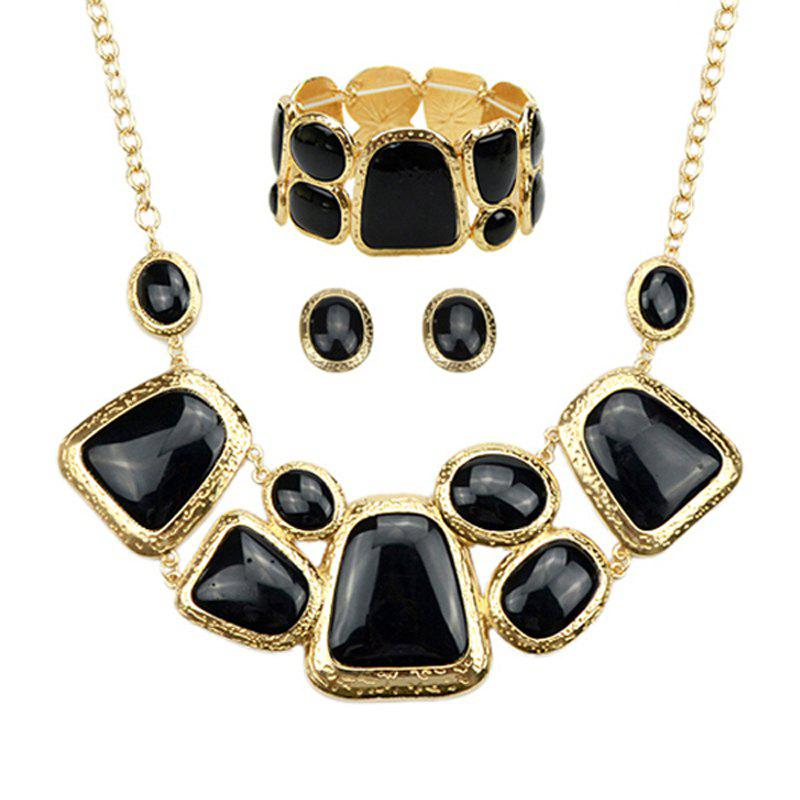 Fashion Irregular Geometry Resin Necklace Earrings Bracelet - BLACK
