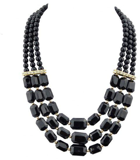 Fashion Polychromatic Multi-Layer Bead Geometry Necklace for Women - multicolor A