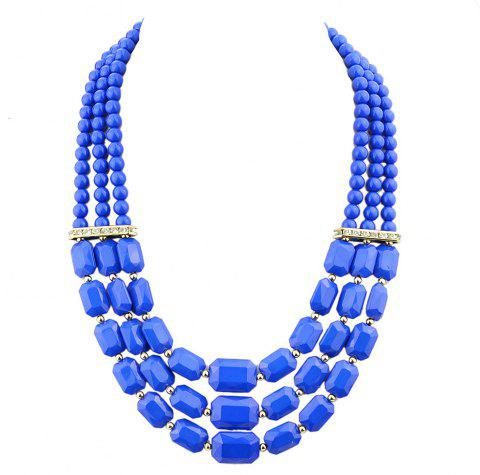Fashion Polychromatic Multi-Layer Bead Geometry Necklace for Women - multicolor B