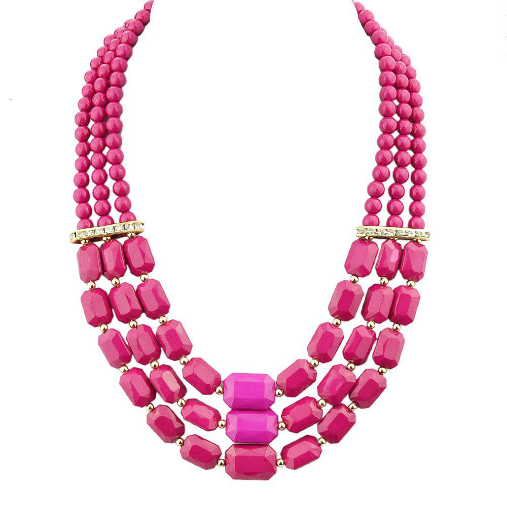 Fashion Polychromatic Multi-Layer Bead Geometry Necklace for Women - multicolor C