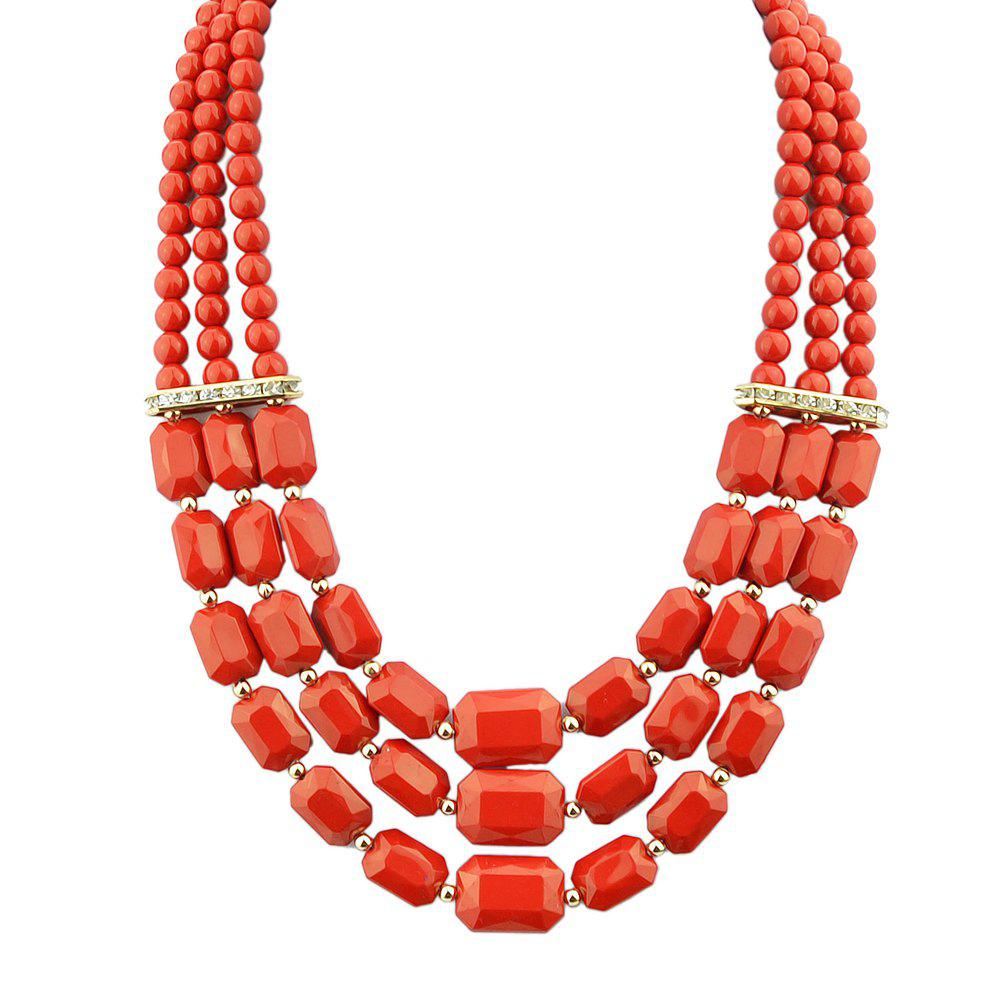 Fashion Polychromatic Multi-Layer Bead Geometry Necklace for Women - multicolor D