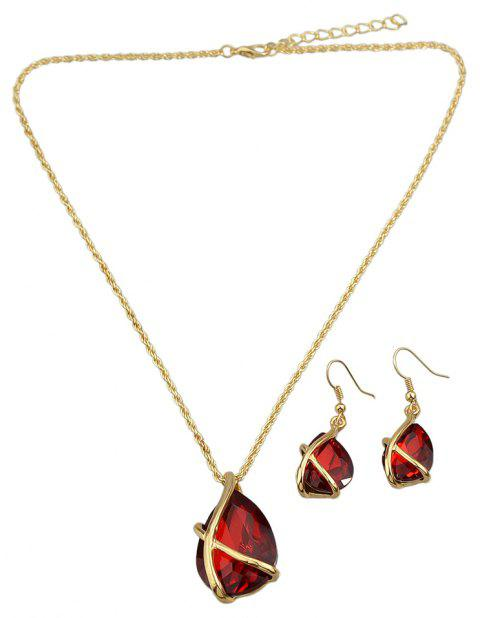 Fashion Colourful Crystal Water Drop Pendant Necklace Earrings - multicolor C