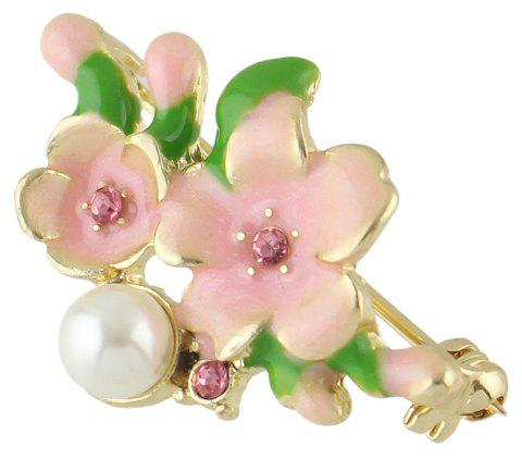 Sweet Colorful Enamel Cherry Blossoms Brooch for Women - multicolor