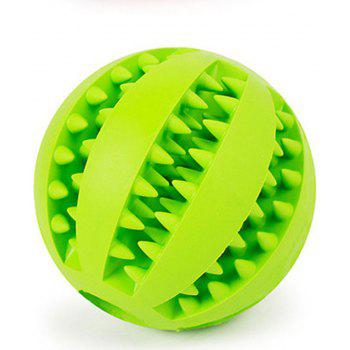 Dog Ball Chew Pet Puppy Teething Treat Clean Bite Durable Training Rubber Toy - GREEN