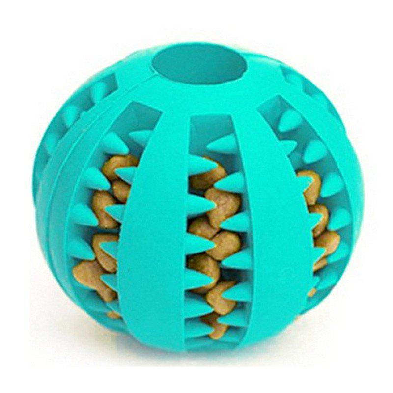 Dog Ball Chew Pet Puppy Teething Treat Clean Bite Durable Training Rubber Toy - BLUE DIAMOND