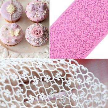 Lace Silicone Mold Sugar Craft Fondant Mat Cake Decorating Baking Tool - PINK CUPCAKE