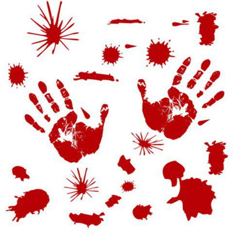Halloween Horror Wall Stick Footprints Print Stickers - RED