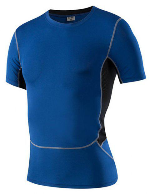 Men's Tight-Fitting Running Elastic Wicking Quick-Drying Short-Sleeved T-Shirt - BLUE 3XL