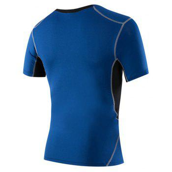 Men's Tight-Fitting Running Elastic Wicking Quick-Drying Short-Sleeved T-Shirt - BLUE 2XL