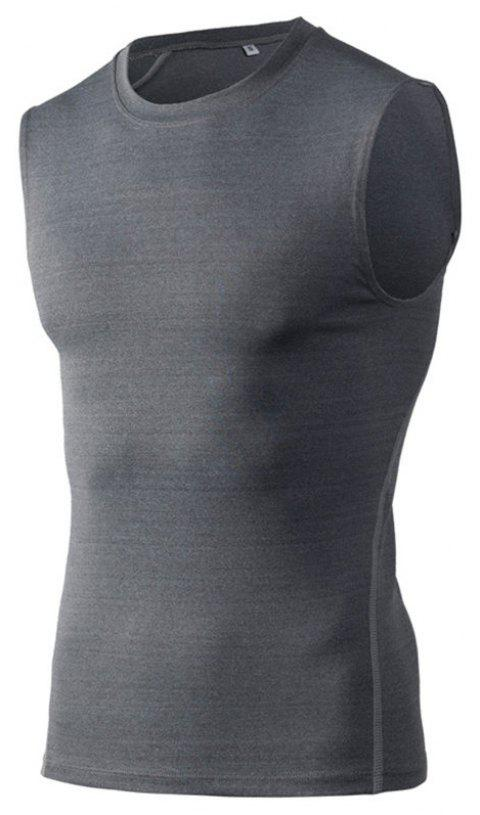 Men's Training Vest Sports Running Fitness Basketball Stretch Quick-Drying Vest - GRAY L
