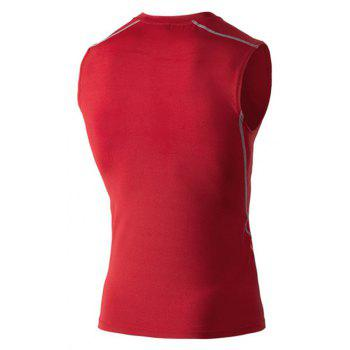 Men's Training Vest Sports Running Fitness Basketball Stretch Quick-Drying Vest - RED M