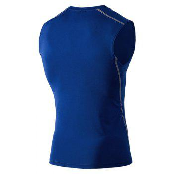 Men's Training Vest Sports Running Fitness Basketball Stretch Quick-Drying Vest - BLUE L
