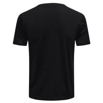 Men's Sports Running Fitness Perspiration Quick-drying Short Sleeve T-Shirt - BLACK XL