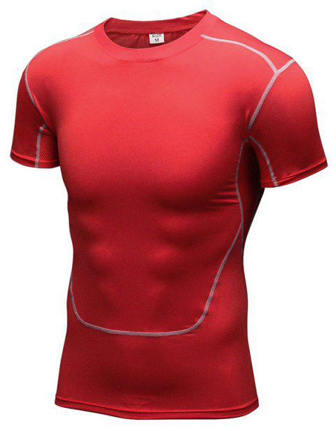 Men's Training Sports Fitness Wicking Quick-Drying Short-Sleeved T-Shirt - RED S