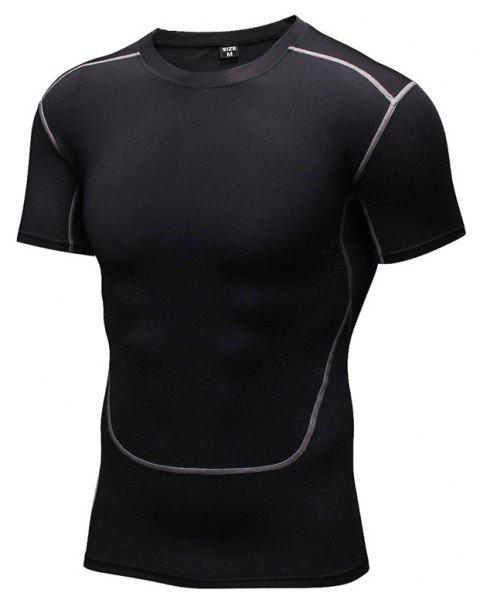 Men's Training Sports Fitness Wicking Quick-Drying Short-Sleeved T-Shirt - BLACK M