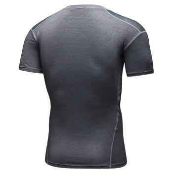 Men's Training Sports Fitness Wicking Quick-Drying Short-Sleeved T-Shirt - GRAY M