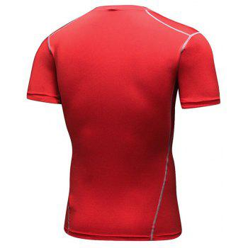 Men's Training Sports Fitness Wicking Quick-Drying Short-Sleeved T-Shirt - RED 2XL