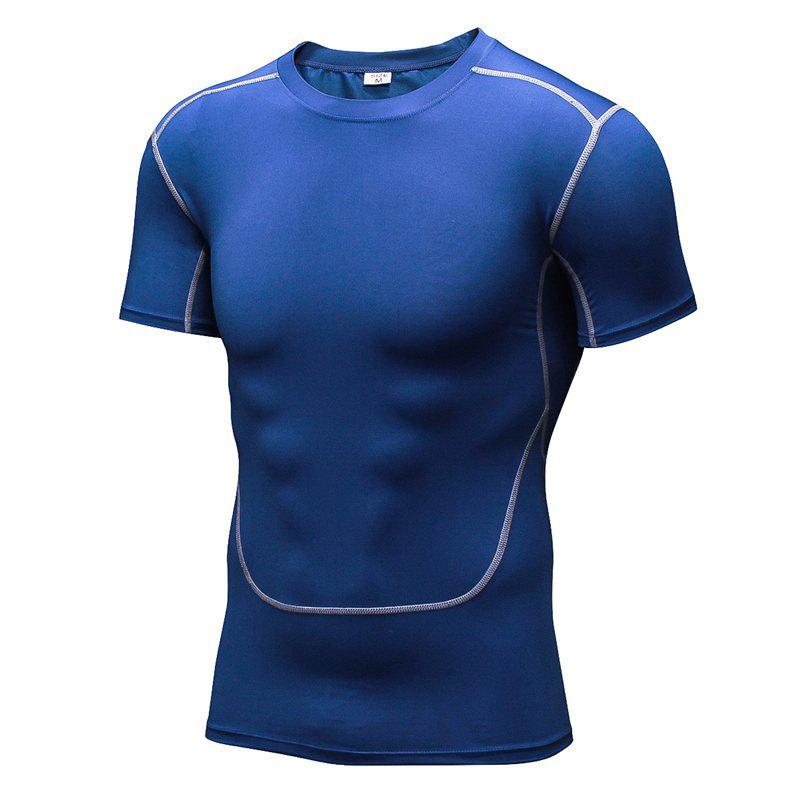 Men's Training Sports Fitness Wicking Quick-Drying Short-Sleeved T-Shirt - BLUE XL