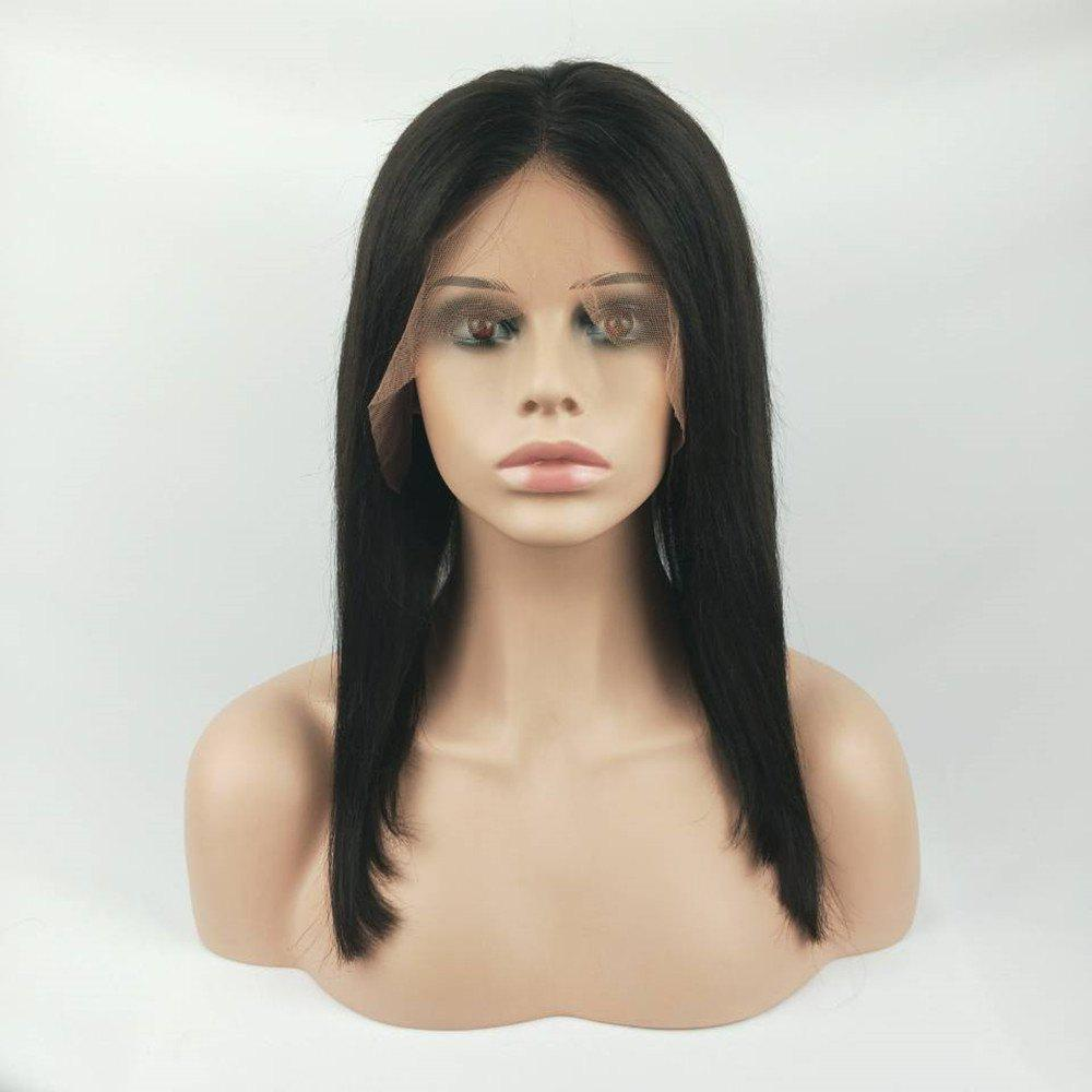 Lace Front Wigs Natural Color Silky Straight Brazilian Virgin Human Hair - NATURAL BLACK 14INCH