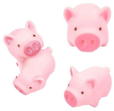 Cute Pink Cartoon Pig Silicone Mini Toy 4PCS - PINK