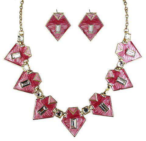 Fashion Geometric Colorful Enamel Necklace and Earrings - multicolor B