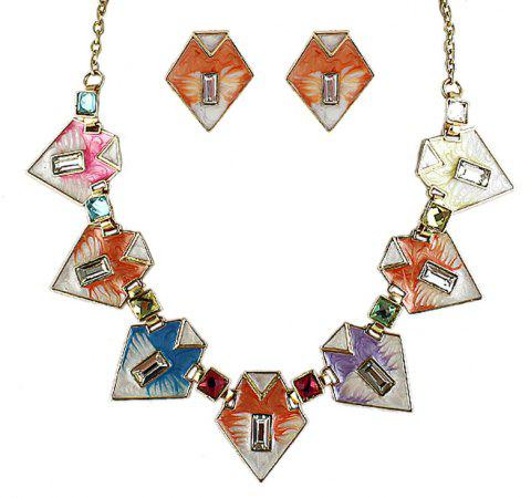 Fashion Geometric Colorful Enamel Necklace and Earrings - multicolor C